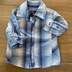 Plaid/gingham 6-9 mo. sovereign code l/s button up